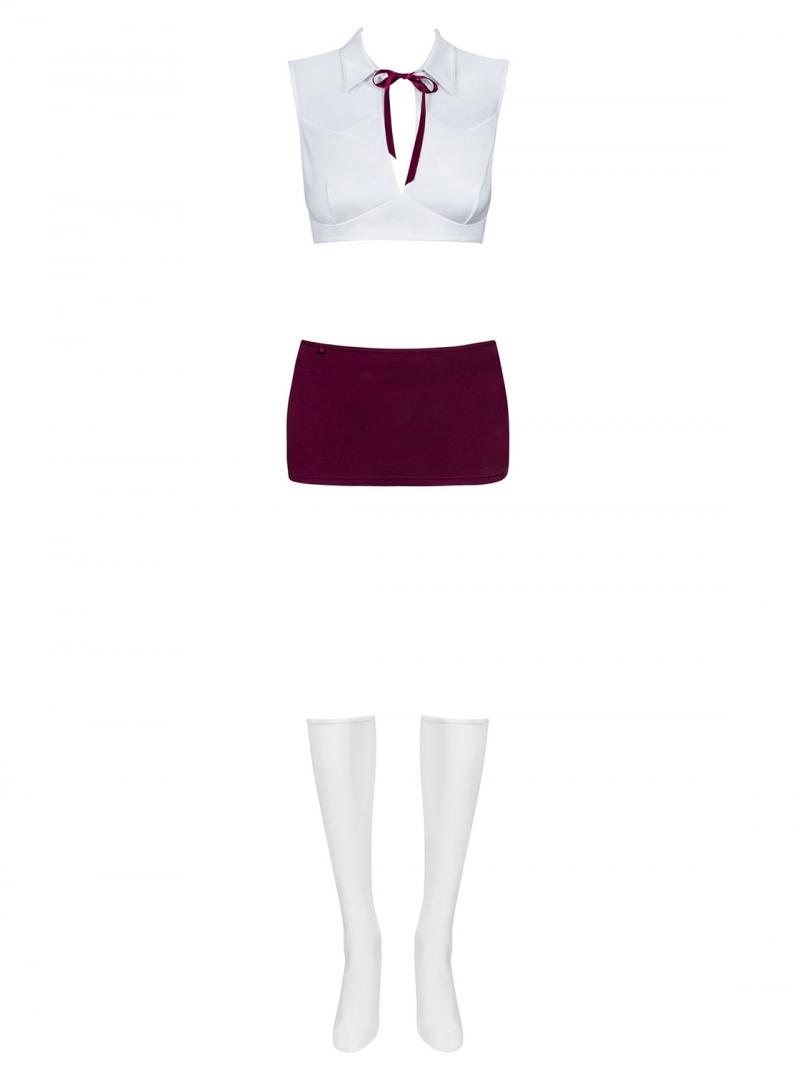 Costum studenta format din 4 piese, Obsessive, alb/rosu