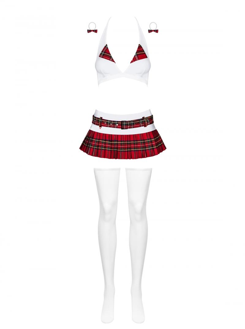 Costum scolarita din 5 piese, Obsessive, alb/rosu